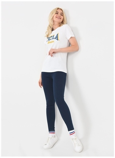 UCLA Ucla Mateo Beyaz Bisiklet Yaka Yazı Baskılı Kadın T-Shirt Beyaz